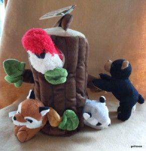Forest Friends Plush Tree House with 4 Animals Raccoon Bear Bird Fox