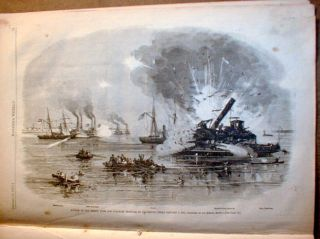 Civil War Newspaper w 2 LG Engravings Battle of Galveston Texas