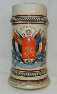 Original Pre WW1 Vintage Imperial German Army 34th Regimental Beer