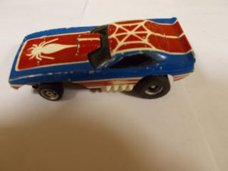 Aurora AFX Magna Steering BL R w Spiderman Cuda Slot Car Used RARE