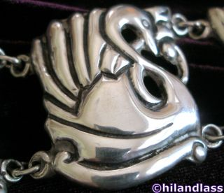 FABULOUS EARLY VTG MEXICO MEXICAN STERLING SILVER REPOUSSE SWAN