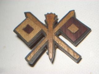 Vintage WWII Army Signal Corps Sweetheart Pin Wood