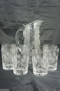 Vintage Cut Glass Pitcher Water Wine 6 Glasses Floral
