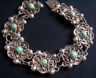 BARRERA VTG OLD MEXICO MEXICAN STERLING SILVER TURQUOISE STONE FLOWER