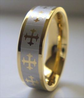Gold Stainless Steel Cross Ring Crucifix Band Size 6 5 New Mens Womens