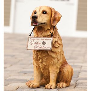 Golden Retriever Welcome Friends Dog Outdoor Statue