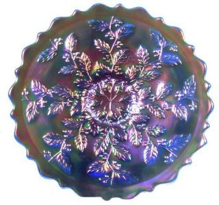 Fenton Holly Plate in Cobalt Carnival Glass
