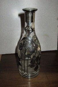 Antique Art Nouveau Glass Decanter Sterling Silver Overlay