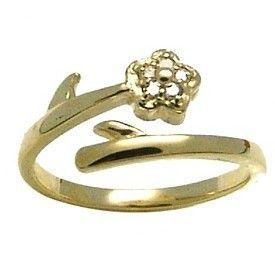 14k Yellow Gold Diamond Flower Toe Ring