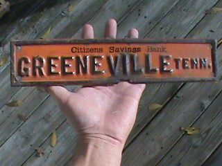 1920s Citizens Savings Bank Greeneville Tenn License Plate