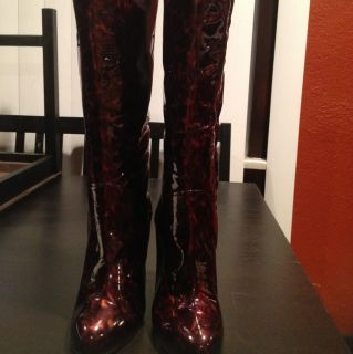 Giuseppe Zanotti Animal Print Patent Leather Knee High Boots