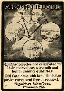 Ad Rambler Bicycle Bike Cycle World Globe   ORIGINAL ADVERTISING