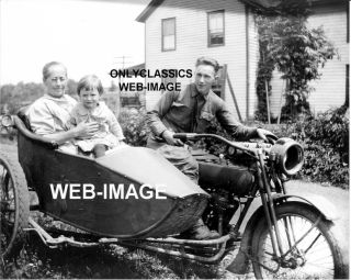 Harley Davidson Motorcycle Sidecar Family House Photo