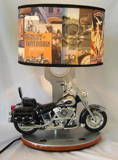 Harley Davidson Motorcycle Table Lamp Night Light w Engine Sounds