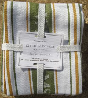 Williams Sonoma Kitchen Towels Green Gold Stripe Other Colors