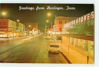 4935 TX Greetings From Harlingen, Texas Cars Shops Coca Cola c1950 60s
