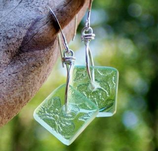 Eco Friendly Green Depression Glass Square Earrings