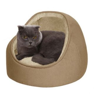Soft Touch Faux Suede Hooded Snuggler Cat Bed with Cushion in Sand