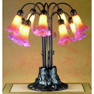 Meyda Tiffany Tiffany Pond Lily 10 Light Table Lamp in Amber / Purple