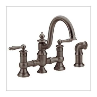 Moen Waterhill Two Handle Widespread Bridge Faucet with Side Spray