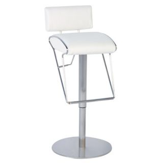 Adjustable Swivel Stool with Upholstered Back in White