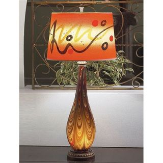 Lite Source Art Glass Table Lamp in Orange and Gold with Built In