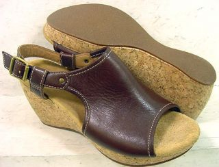 Clarks Elements Womens Harwich Helm Brown Leather Wedge Sandals Shoes