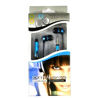 EXTRA BASS 3.5 MM STERO HEADSET W/ MIC FOR HTC PHONES BLUE BLACK