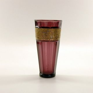 large walther sohne art deco amethyst art glass vase with