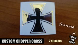 2X Chrome Cross Chopper Harley Davidson Sticker Decal
