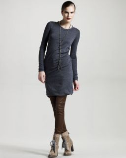 Brunello Cucinelli Ruched Wool Jersey Dress, Charcoal