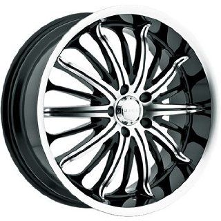 Akuza Belle 22x9.5 Machined Black Wheel / Rim 5x115 with a 15mm Offset
