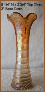 Imperial Carnival Glass Marigold Ripple Pattern Trunk 9 1 4 Inches