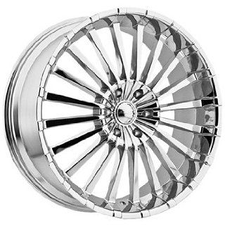 Panther Spline 24x10 Chrome Wheel / Rim 6x5.5 with a 35mm Offset and a