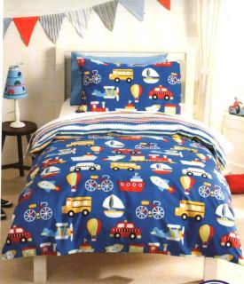 Transport Boats Planes Trucks Double Quilt Cover Set