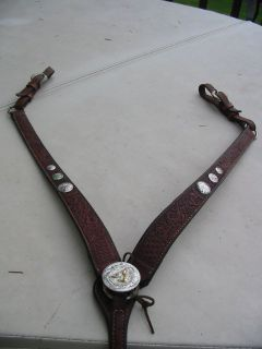 Circle Y Barrel Racer Weave Floral Tooled Leather w Silver Breast