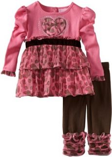 girls Infant Leopard Ruffle Legging Set, Fuschia, 12 Months Clothing