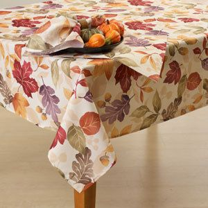 Leaves Oak Maple Fall Autumn Harvest Leaf Tablecloth NIP New