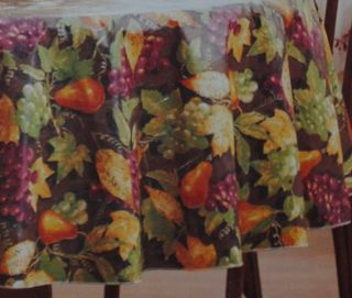 PEVA Tablecloth Harvest Fruit Fall Leaves Grapes Autumn Thanksgiving