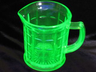 Hazel Atlas Green Depression Uranium Glass Creamer Colonial Block