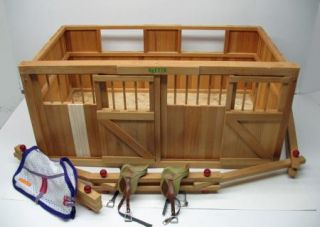 Vintage Wood Breyer Horse Barn Stable Stalls Fence Saddles