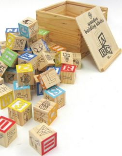 House of Marbles Wooden Building Blocks w Storage Box New