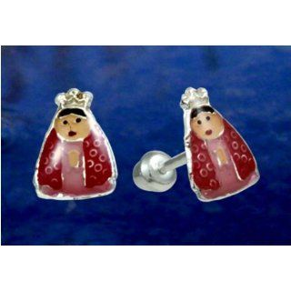 Virgin Mary Enamelled Silver Stud Post Earings. Jewelry