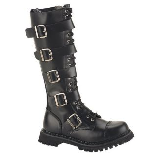 MENS Black Leather Knee High Boot 20 Eyelet 5 Strap Gothic
