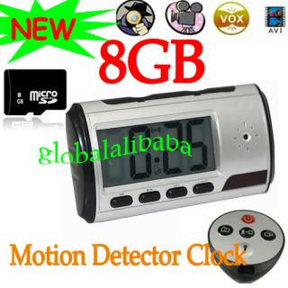 Spy Clock Security Hidden DVR Camera Motion Detector DV + 8GB Memory