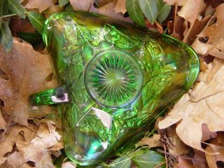 Vintage Carnival Glass Millersburg Holly Whirl nappy in green