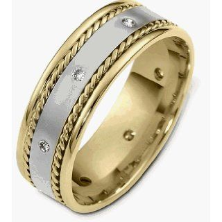 7.5mm Diamond 14 Karat Two Tone Gold Rope Style Band   11