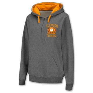 Clemson Tigers Half Zip NCAA Womens Hoodie Grey