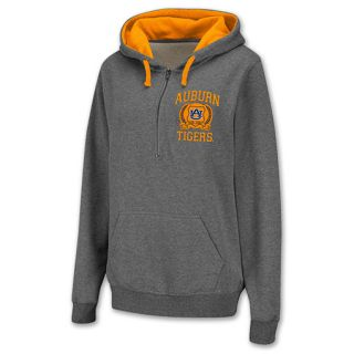 Auburn Tigers Half Zip NCAA Womens Hoodie Grey