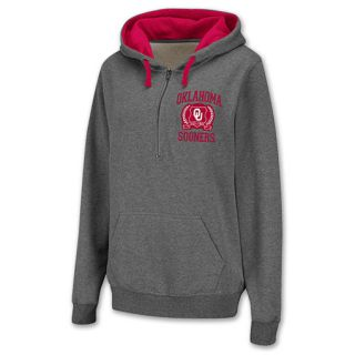 Oklahoma Sooners Half Zip NCAA Womens Hoodie Grey